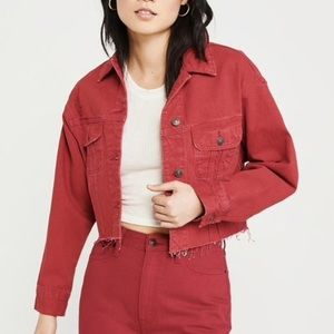 Abercrombie & Fitch Cropped Red Denim Jacket